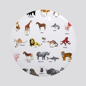 Animal pictures alphabet Round Ornament
