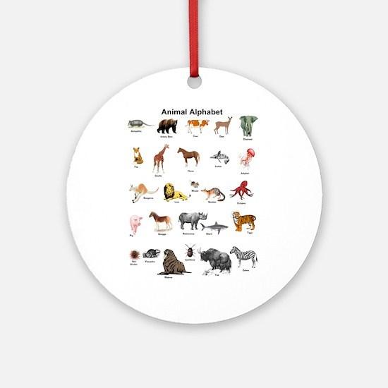 Animal pictures alphabet Round Ornament