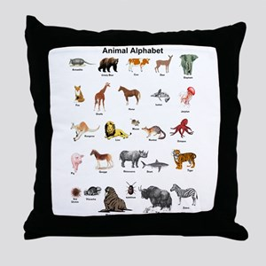 Animal pictures alphabet Throw Pillow