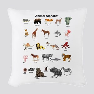 Animal pictures alphabet Woven Throw Pillow