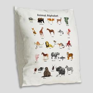 Animal pictures alphabet Burlap Throw Pillow