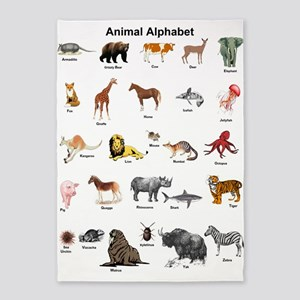 Animal pictures alphabet 5'x7'Area Rug
