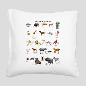 Animal pictures alphabet Square Canvas Pillow