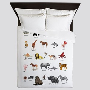 Animal pictures alphabet Queen Duvet