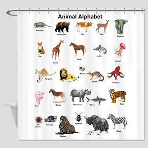 Animal Pictures Alphabet Shower Curtain