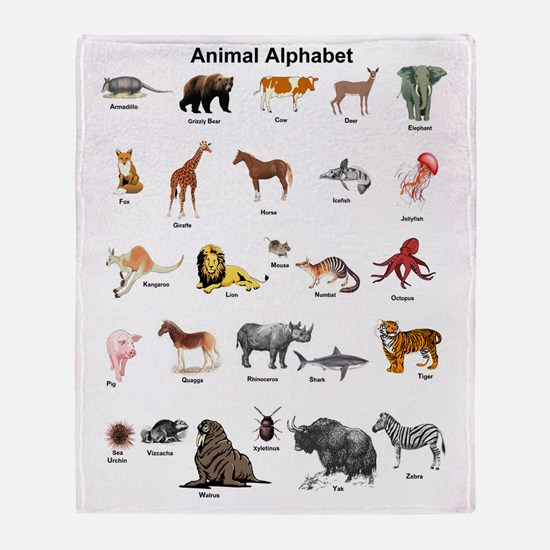 Animal pictures alphabet Throw Blanket