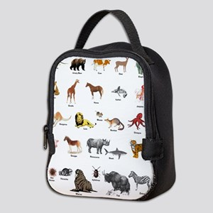 Animal pictures alphabet Neoprene Lunch Bag
