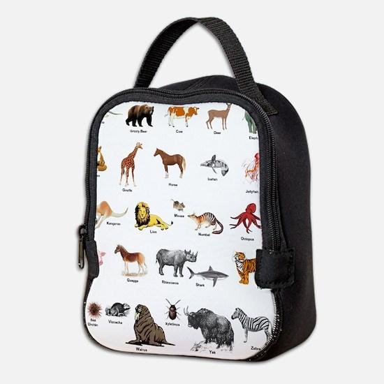 Animal pictures alphabet Neoprene Lunch Bag