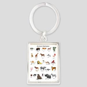 Animal pictures alphabet Portrait Keychain