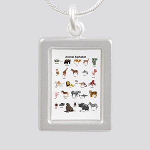 Animal pictures alphabet Silver Portrait Necklace