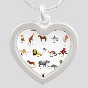 Animal pictures alphabet Silver Heart Necklace