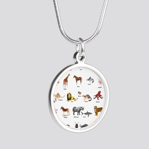 Animal pictures alphabet Silver Round Necklace