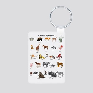 Animal pictures alphabet Aluminum Photo Keychain