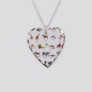 Animal pictures alphabet Necklace Heart Charm