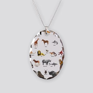 Animal pictures alphabet Necklace Oval Charm