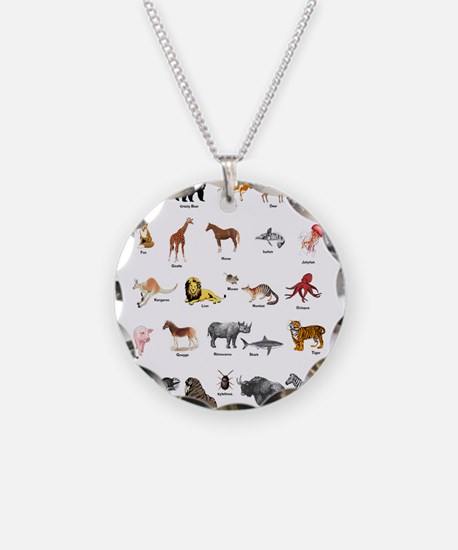 Animal pictures alphabet Necklace