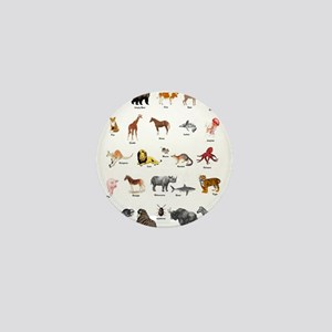 Animal pictures alphabet Mini Button