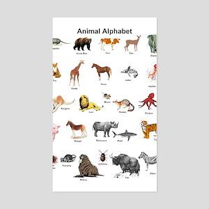 Animal pictures alphabet Sticker (Rectangle)