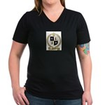 MEUSE Family Crest Women's V-Neck Dark T-Shirt