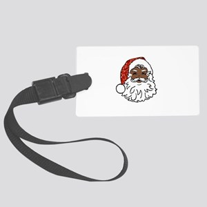 black santa claus Large Luggage Tag