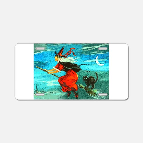 Flying Witch Aluminum License Plate