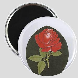 black n red rose Magnets