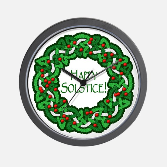 Celtic Solstice Wreath Wall Clock