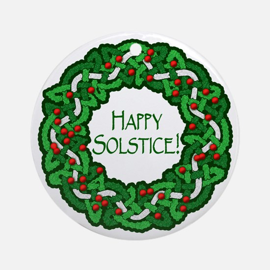 Celtic Solstice Wreath Ornament (Round)