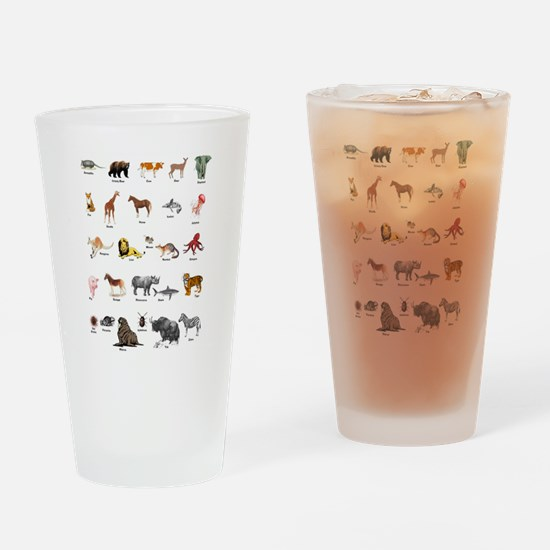 Animal pictures alphabet Drinking Glass