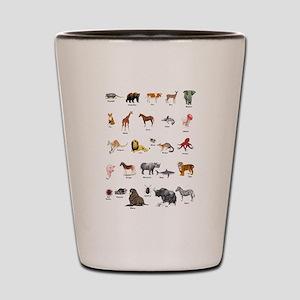 Animal pictures alphabet Shot Glass