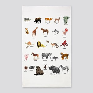 Animal pictures alphabet Area Rug