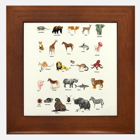 Animal pictures alphabet Framed Tile