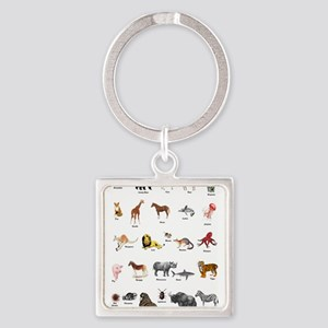 Animal pictures alphabet Square Keychain
