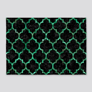 TILE1 BLACK MARBLE & GREEN MARBLE ( 5'x7'Area Rug