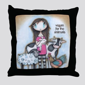 Vegan for the Animals Throw Pillow
