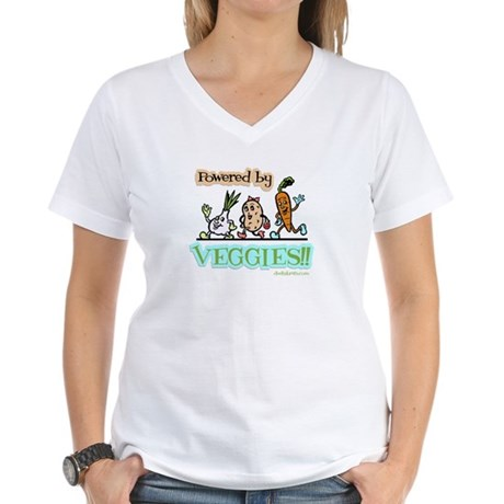 Powered by Veggies Women's V-Neck T-Shirt