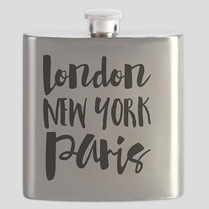 London, New York, Paris - Typography Flask