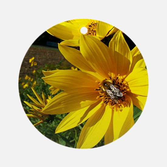 Bee on Yellow Flower Ornament (Round)
