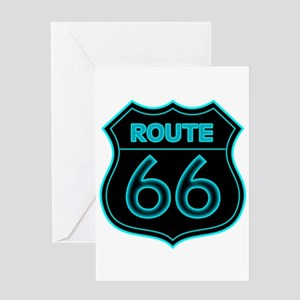 Route 66 Neon - Teal Greeting Card