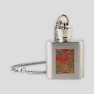 Hawaiian Sunset, retro Flask Necklace