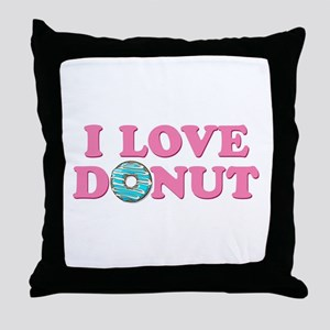 I Love Donut Throw Pillow