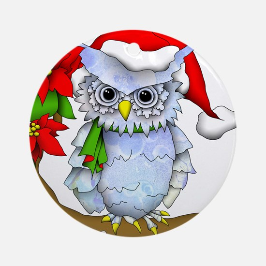 Snowy Holiday Owl Round Ornament