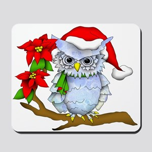 Snowy Holiday Owl Mousepad