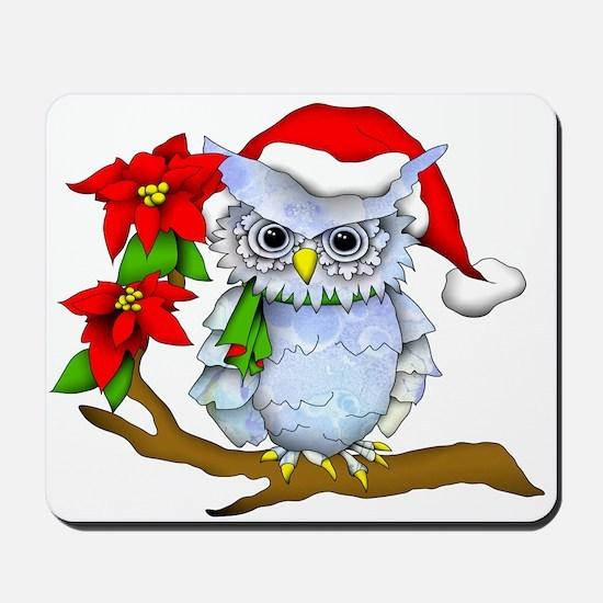 Snowy Holiday Owl Mousepad