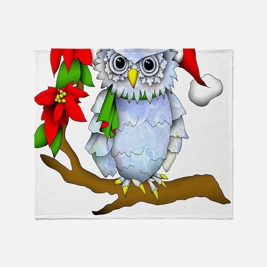 Snowy Holiday Owl Throw Blanket
