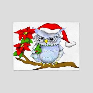 Snowy Holiday Owl 5'x7'Area Rug
