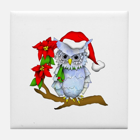 Snowy Holiday Owl Tile Coaster