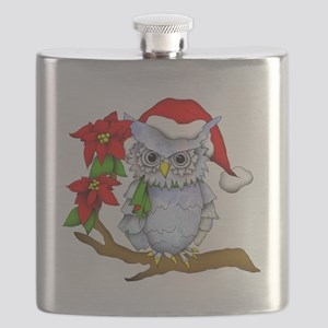 Snowy Holiday Owl Flask