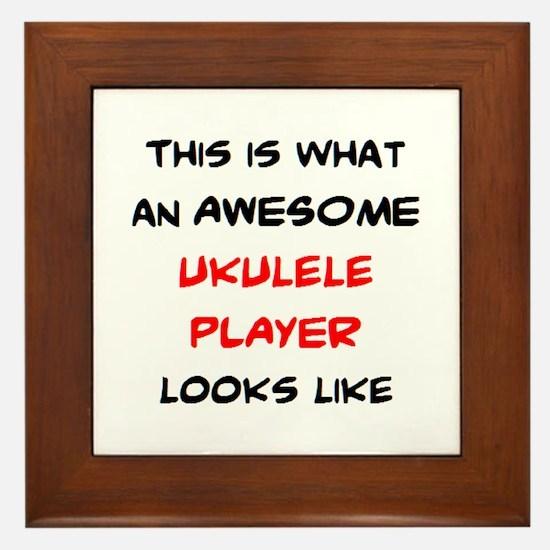 awesome ukulele player Framed Tile