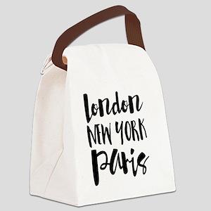 London, New York, Paris - Typogra Canvas Lunch Bag